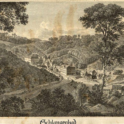 Antiquités, Varia, Taunus Schlangenbad / gravure sur acier, 12,5 x 20,5 cm. Foxi…
