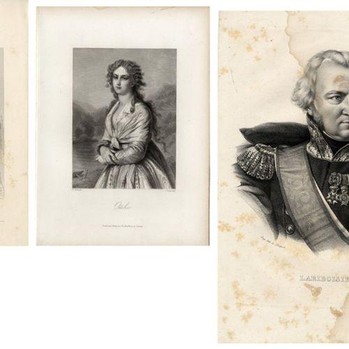 Antiquités, Varia, Lot mixte de portraits / 28 gravures sur acier vers 1850 et h…