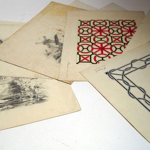 Antiquités, Varia, lot mixte V.H. Commerell / 11 dessins maisons et ornements /,…