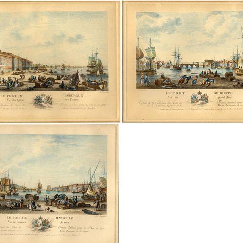 Antiquités, Varia, ports français / Trois gravures sur cuivre coloriées à la mai…