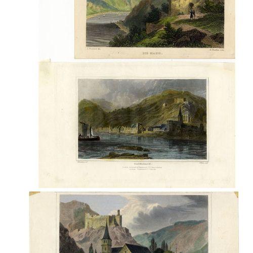 Antiquités, Varia, Le Rhin / Trois gravures sur acier colorées à la main vers 18…