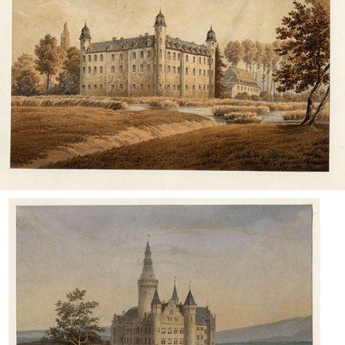 Antiquités, Varia, Châteaux allemands / Deux lithographies en couleur surchargée…