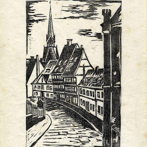 Antiquités, Varia, Vieux Hildesheim / Linogravure, format de la feuille 33 x 25 …