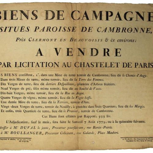 """1779. (BIRDIE) CAMBER THE CLERMONT. PARIS. """"CAMPAIGN PROPERTIES located in the P…"""