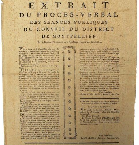 "AN 2. HÉRAULT. "" Extract from the minutes of the public meetings of the District…"