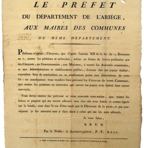 ARIEGE. 1802. LETTER POST. Opinion of BRUN, Prefect of the department of Ariège,…