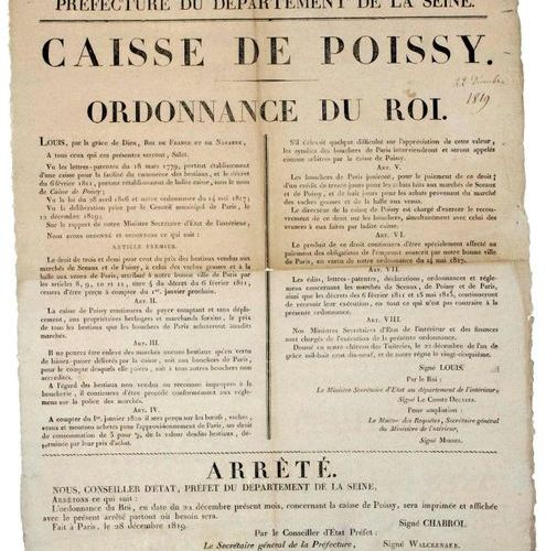 "YVELINES. 1819. ""CASE OF POISSY. Ordinance of the King."". Order of CHABROL State…"
