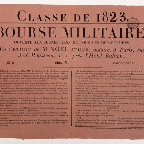 CLASS OF 1823. MILITARY SCHOLARSHIP, open to young people from all departments, …
