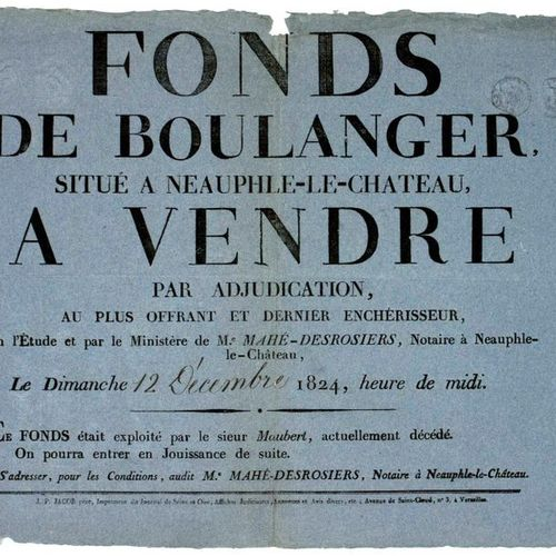 "1824. YVELINES. BOULANGERIE. ""Fonds de BOULANGER"", located in NEAUPHLE LE CHÂTEA…"
