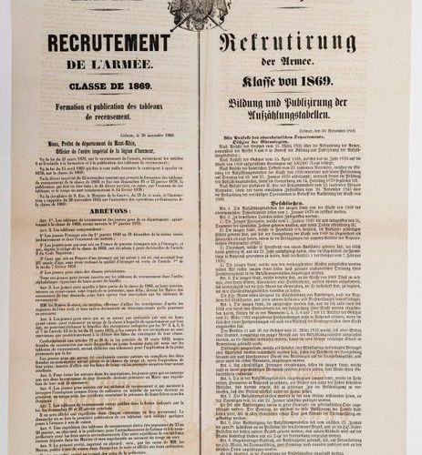 SECOND EMPIRE. HIGH RHIN. ARMY RECRUITMENT. Class of 1869. Bilingual poster made…