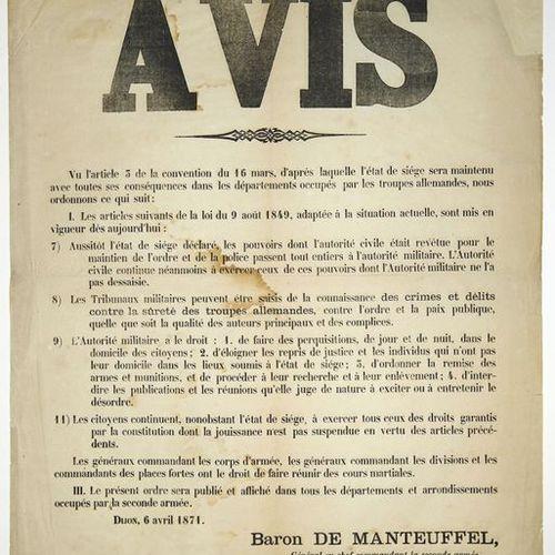 DIJON (CÔTE D'OR) 6 Avril 1871. AVIS du Baron DE MANTEUFFEL, Général en chef Com…