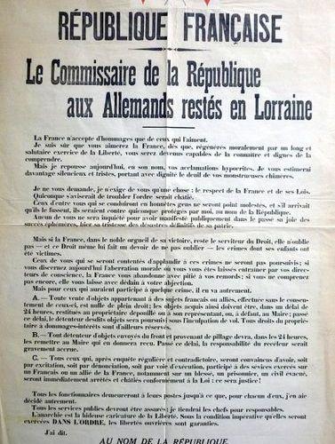 (LA LORRAINE DÉLIVRÉE) METZ (57) 19 Novembre 1918. «Le Commissaire de la Républi…