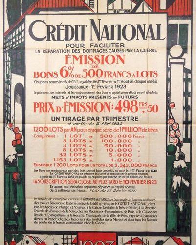 G. L. Jaulmes «1923. CRÉDIT NATIONAL pour faciliter la réparation des dommages c…