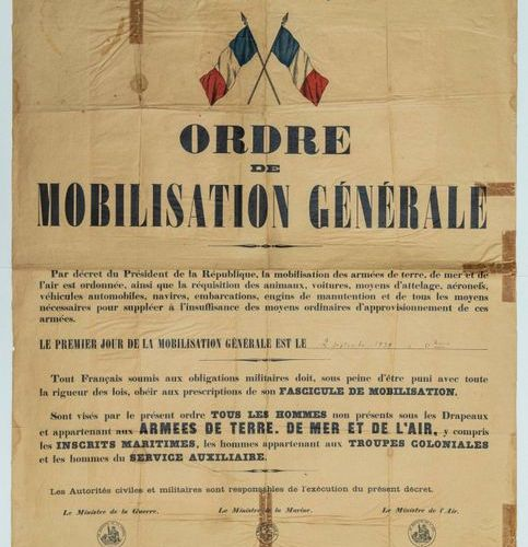 GENERAL MOBILIZATION ORDER of September 2, 1939, this Order applies to all men n…