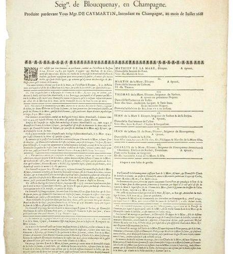 CHAMPAGNE. 1668. GÉNÉALOGIE DE LA MARE SEIGNEUR DE BLOUCQUENAY, en CHAMPAGNE, pr…