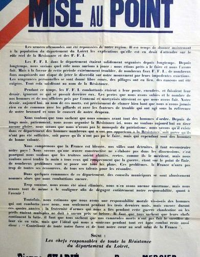 """LA RÉSISTANCE du Département du LOIRET, August 1944 """"Mise au point. The German a…"""