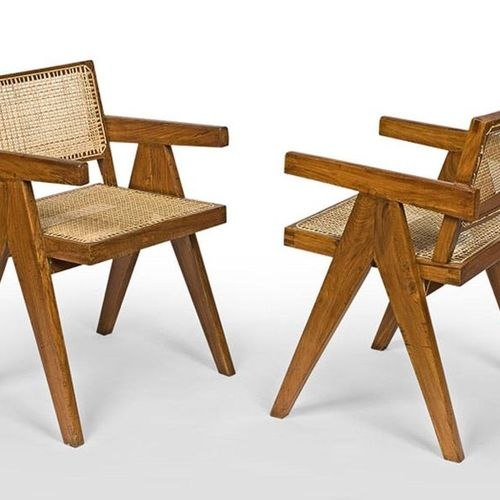 "Pierre Jeanneret (1896 1967) Teak armchair Office chair ""Office cane chair"" in s…"