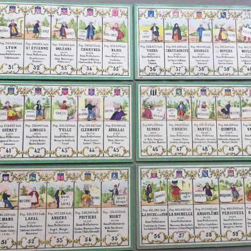 Départements Français: Rare série composée de lithographies en couleurs montées …