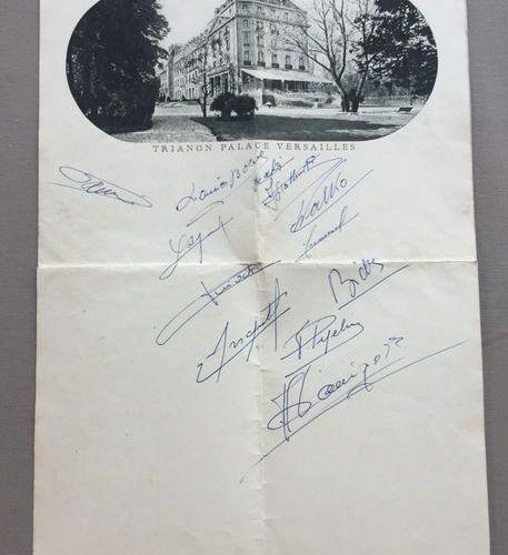 CYCLISME: Menu du repas servi au TRIANON PALACE en 1958 à l'occasion du TOUR de …