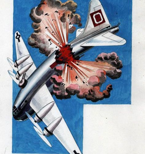 * SABRAN Guy  Crash d'avion  Aquarelle et encre de chine  40 x 29 cm