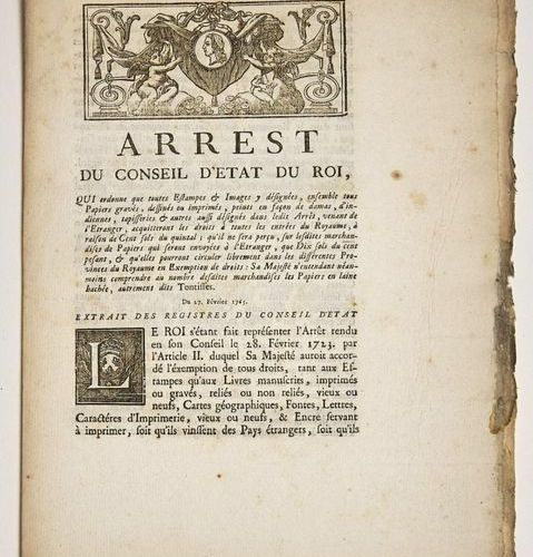 """(PRINTING & PICTURES.) """"ARREST of the King's Council of State, which orders that…"""