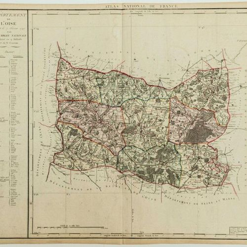 """MAP XVIII: """"Department of OISE, decreed on February 7, 1790 by the National Asse…"""