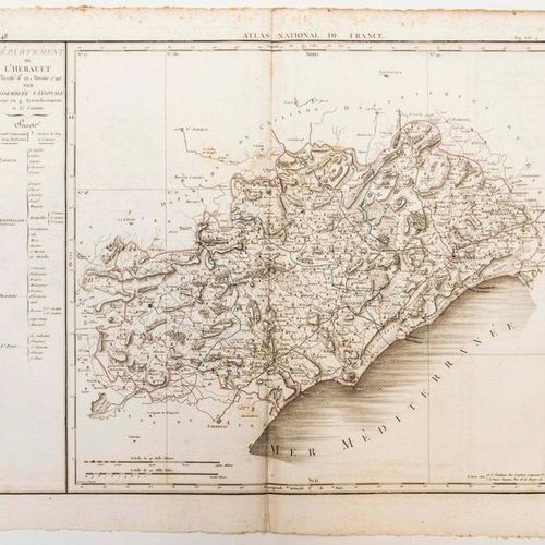 Map of the Hérault Department, decreed on January 22nd 1790 by the National Asse…
