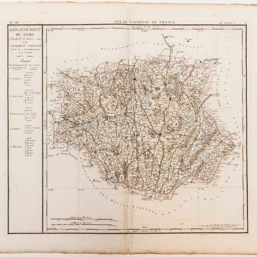 Map of the GERS Department, decreed on 28 January 1790 by the National Assembly.…