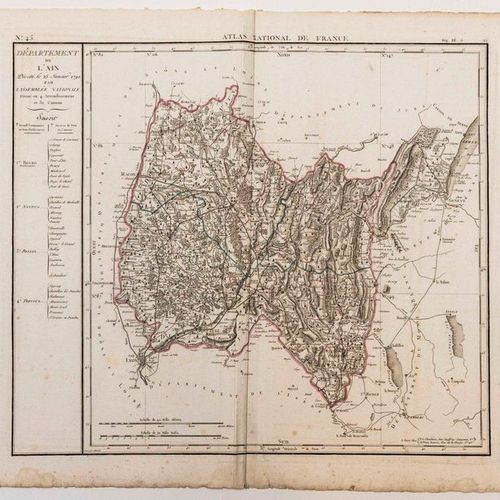 Map of the Department of AIN, decreed on January 25, 1790 by the National Assemb…