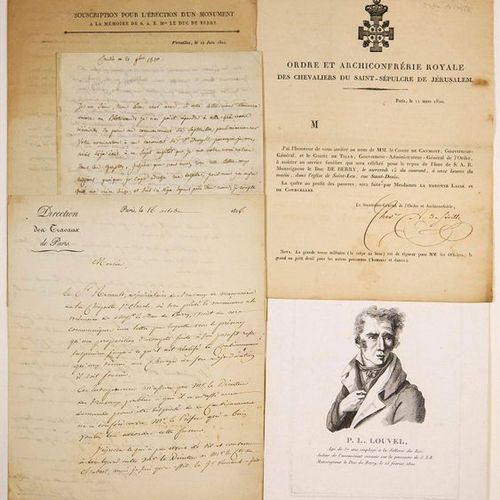 DEATH OF THE DUKE OF BERRY 1820: 4 Letters and 1 Engraving: Letter signed by the…