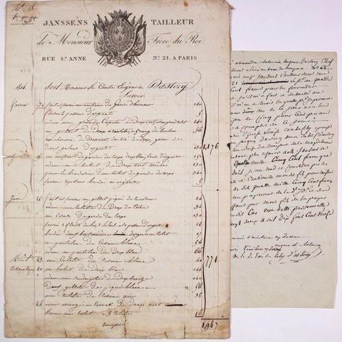"""Count Eugene D'ASTORG. Invoice engraved """"JANSSENS TAILLEUR de Monsieur Frère du …"""