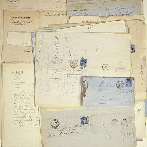 """VOSGES. 85 Letters and Invoices addressed to """"GARNIER THIEBAULT Frères"""", Manufac…"""