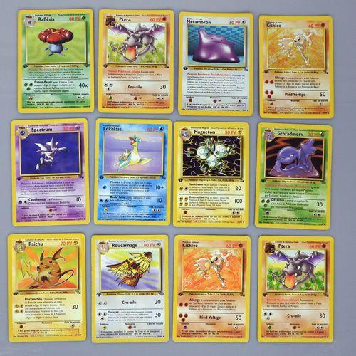 BLOC WIZARDS  Ensemble de 12 cartes pokémon rares dont 4 holo en édition 1 (pliu…
