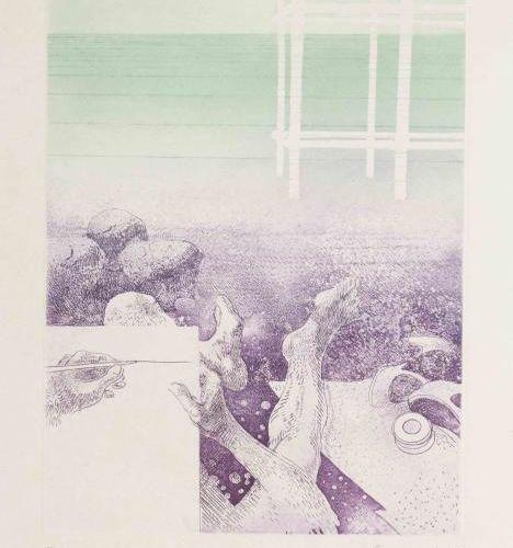 CREMONINI Japon Aquatinte sur japon nacré, signeée, datée 1967 en bas à droite U…
