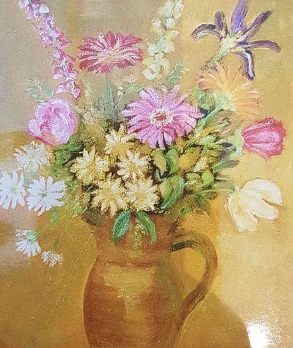 Monica  Bouquet d'anniversaire  Huile sur isorel, signée en bas à gauche  55 x 3…