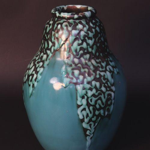 """C.A.B. (Céramique d'Art de Bordeaux) (1919 1947)  Vase à décor """"Bougie"""" vert et …"""
