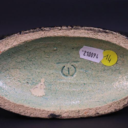 """Jean MAYODON (1893 1967)  Vase """"Léda et le cygne"""", en céramique émaillée et doré…"""