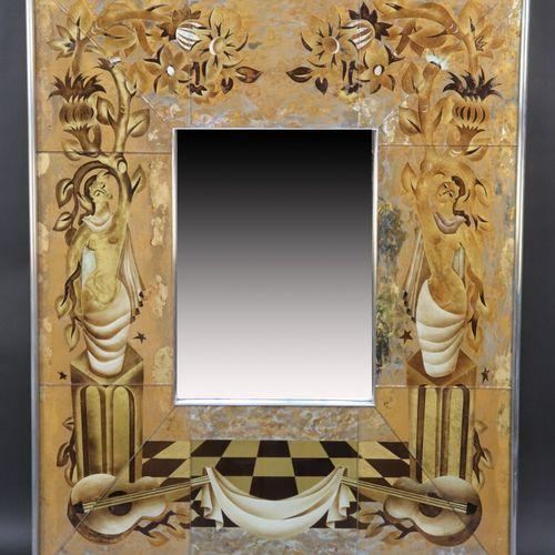 Important miroir rectangulaire à structure aluminium encadrant des plaques de ve…