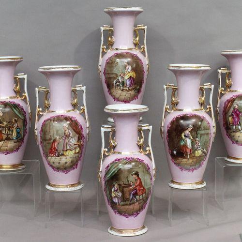 Importante suite de six vases balustres à anses feuillagés en porcelaine de Pari…