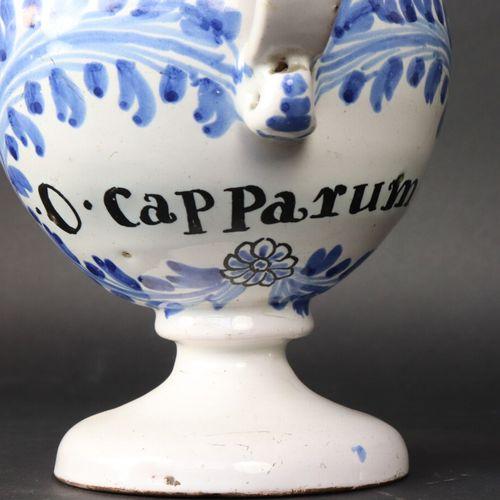 """NEVERS XVIIIe  Chevrette sur piédouche en faïence à décor bleu inscrite """"O. Capp…"""