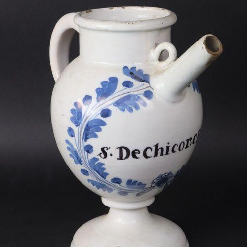"""NEVERS début XIXe  Chevrette sur piédouche en faïence à décor bleu inscrite """"S. …"""