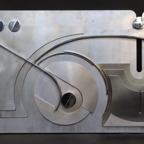 Frantz SARTORI (1927 2000)  Décor mural géométrique, panneau en acier chromé  Ve…