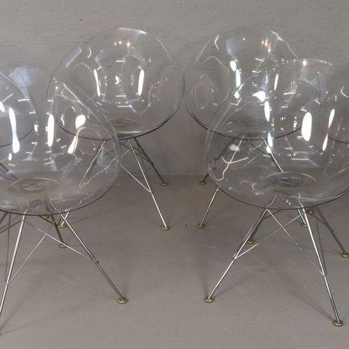 Philippe STARCK (1949) KARTELL Editeur  Ensemble de 6 fauteuils modèle Eros, piè…