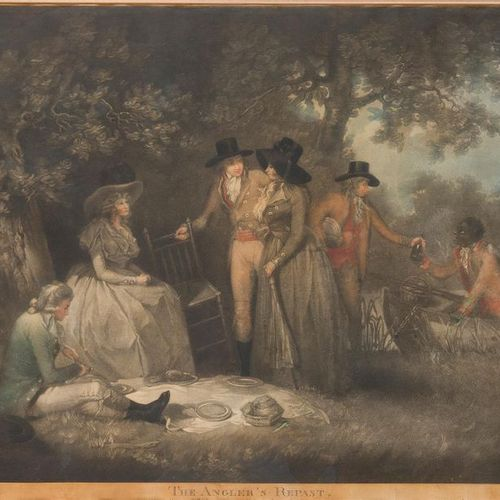 AFTER GEORGE MORLAND (1763 1804) The Angler's Repast Colour Engraving by W. Ward…