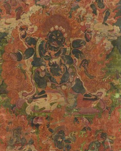THANGKA OF MAHAKALA Tibet, late 18th early 19th century The standing deity crush…