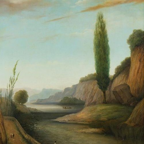 SCHOOL TOWARDS 1840 1850, Two animated landscapes in pendant Two unsigned oils o…