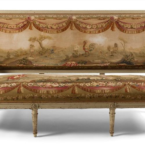PAIR OF LARGE MOLDED WOODEN Moulded , painted and carved sofas , with flat backs…