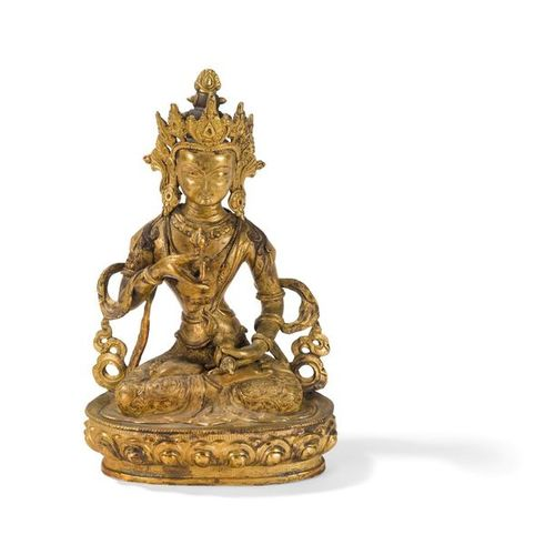 GOLDEN COPPER VAJRASATTVA STATUE Tibet, 20th century Depicted sitting in dhyanas…