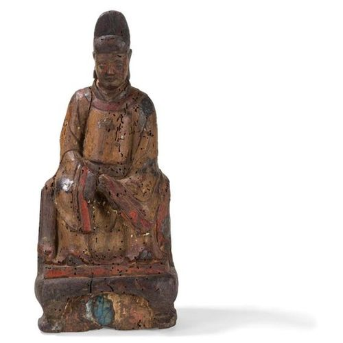DIGNITY STATUS IN SCULPT WOOD China, late Ming period, 17th century Shown sittin…