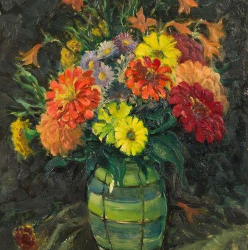 WILHELM HEMPFING (1886 1948) Bouquet Oil on panel, signed lower right. 46,5 x 38…